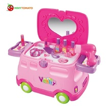 Funny 2in1 Electronic Multifunctional Classic Pretend Play Dressing Table Car Playset Dresser for Girls Baby Toys With no Box(China)
