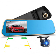 "Rearview Mirror Camera Dual Lens Full HD 1080P 4.3""LCD Car DVR+4 LED Rear View Camera Night Vision Parking Function Dash Cam"