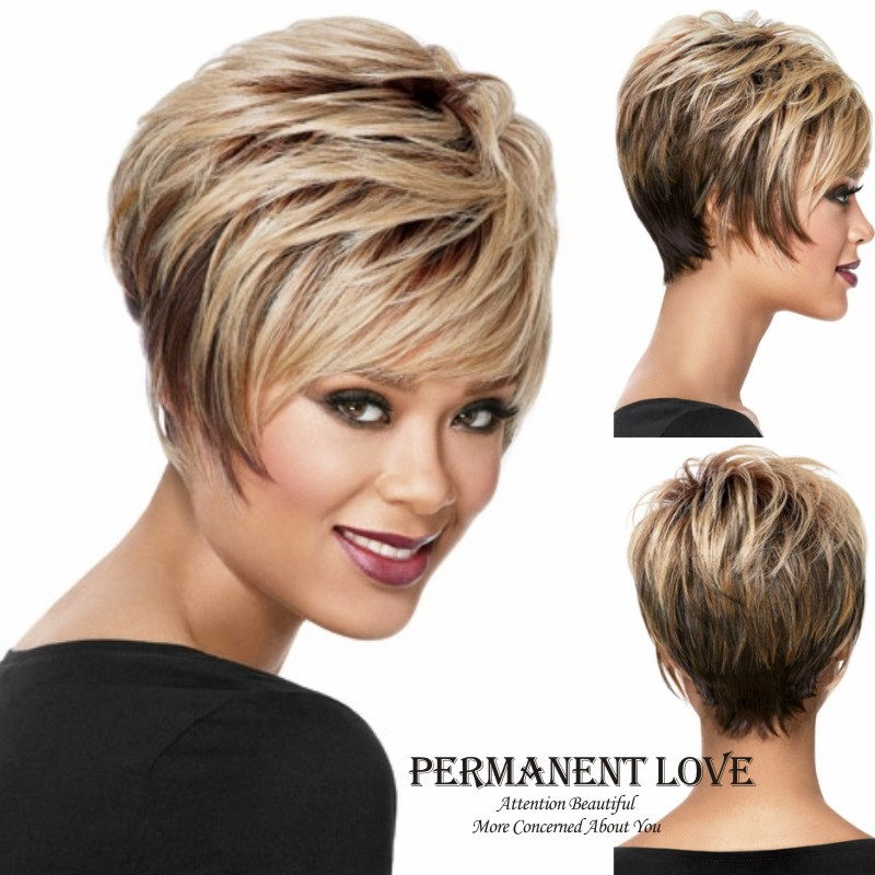 Short pixie wigs blonde synthtetic Peruk playful straight shape with wispy face-framing swept bangs Bob hair wigs  for women<br><br>Aliexpress