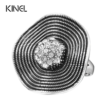 Hot Sale Crystal Rings 2017 Temperament Fashion Flower Ring Women CZ Zircon Ring Retro Jewelry Christmas Gift(China)