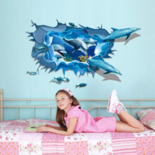Foreign Trade And Protection Can Be Removed Wall Stickers Creative Living Room 3D Dolphins Stickers Factory Outlets