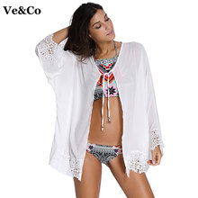 Ve&Co New White Bikini Cover Up Swimwear Women Chiffon Bathing Suit Cover Ups 2017 Summer Pareo Beach Cover Ups Print Beach Wear