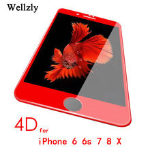 Buy 4D iphone 8 6 Screen Protector Film red Tempered Glass iphone7 7Plus 9H Tempered Film Screen Protector iphone x 6s for $8.32 in AliExpress store