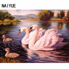 5D Diy Mosaic kits Wall Decora Full Square Drill Diamond Embroidery Swans Family Look Picture 3D Diamond Painting cross-stitch(China)
