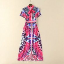 European and American women's wear in 2018 The new spring With short sleeves A bow scarf collar geometry printing Long dress(China)