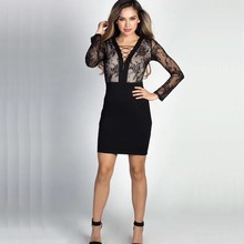 wholesale 2017 New Dress black Lace long sleeves V-neck Tight sexy Nightclub Cocktail party bandage dress (L2168)(China)