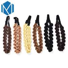 M MISM Fashion Hairpiece Wig Plait Elastic Turban Hair Bands Hair Accessories Ornaments Head Wear Headband Hoop Women Girls(China)