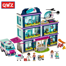 QWZ Heart Lake Love Hospital 932 Pcs Mini Bricks Girls Friends Series Set Sale Building Blocks Model Toys For Children Gifts