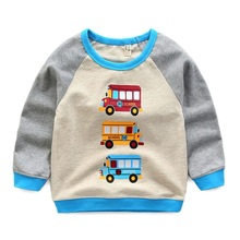 New Autumn Winter Baby Boys Cotton Long Sleeves T-shirt O-Neck Print School Bus Fire Truck Fashion Soft Long T-shirt