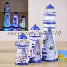 Metal Crafts Lighthouse Beacon Home Furnishing Articles Desktop Ornament Decor