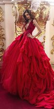 Vintage 2017 Red Wedding Dresses Organza Ruffles Ball Gown for Brides Sexy Tulle Wedding Gowns with V Neck vestidos de noiva