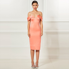 Tanpell strapless cocktail dress orange off the shoulder tea length sheath dress women party customed short cocktail dresses(China)