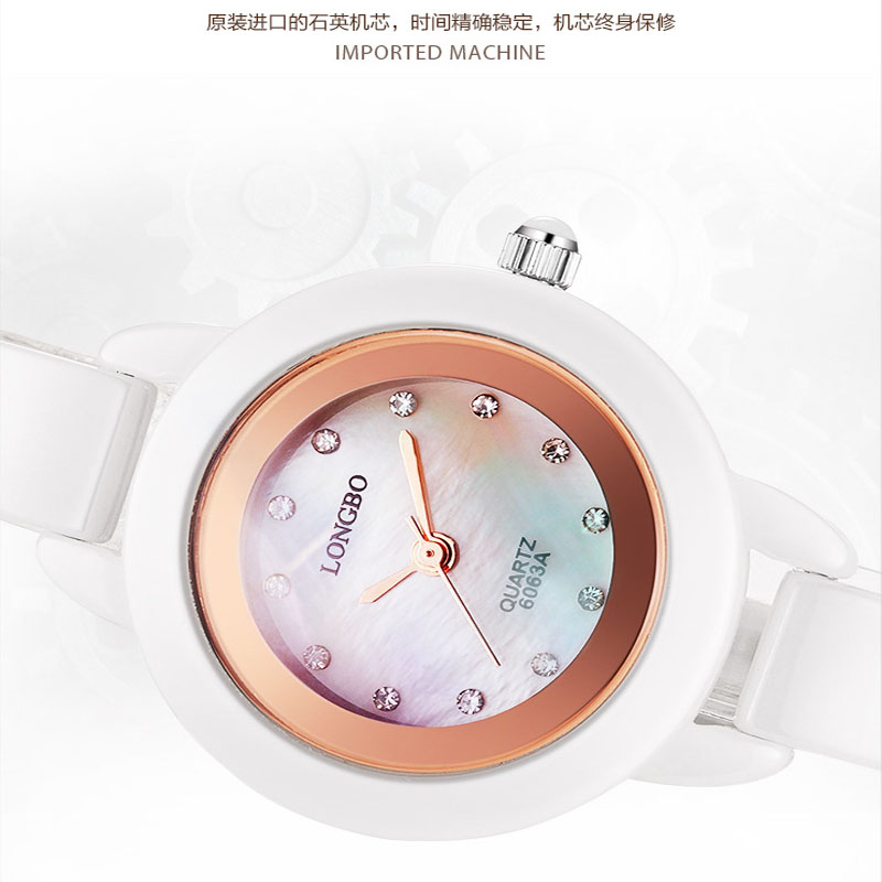 LONGBO Luxury Ceramic Water Resistant Women Wrist Watch,Free Shipping Top Quality Lady Ceramic Rhinestone watches 6063A<br>
