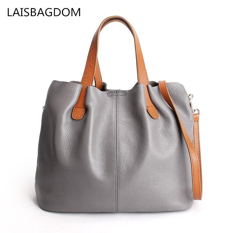High Quality Bag Women Genuine Leather Handbags Ladies Casual Handbags Bucket Shoulder Bags Women Crossbody Bags<br>