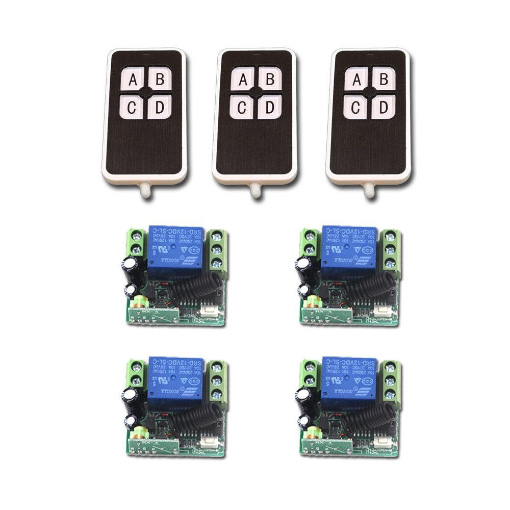 DC12V 1CH Wireless Switch Mini RF 4Receiver &amp;3 Transmitter Toggle Jog Lactched Adjusted Add Controller Freely for SMD LED Access<br>