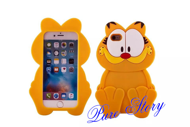 Fashion 3D Cute Silicone Rubber Cartoon Garfield Cat Phone Case For iphone  4s 5s 6s plus 7plus 8plus Capa Para Funda Back Cover - us81