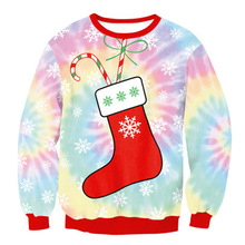 Autumn Sports Clothes Women Exercise Training Sweaters Sweatshirt 3D Christmas Digital Print O-neck Long Sleeve Pullovers