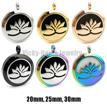 With chain gift Lotus Flower 20mm, 25mm, 30mm Stainless Steel Essential Oils  Aromatherapy Locket Perfume Diffuser Necklace