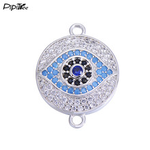 Pipitree Micro Pave CZ Evil Eye Spacer Beads for Jewelry Making Copper Alloy DIY Connectors Charms fit Bracelet Pendant 15x15mm(China)