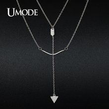 UMODE Brand Bow Arrow 925 Sterling Silver Pendant Necklaces Jewelry for Women White Gold Color Multilayer Colar Feminino UN5001
