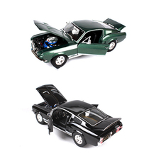 1:18 Ford 1967 Mustang GTA Fastblack Car Black and Green Zinc Alloy Car Model Diecast for Collection Boys Toys Gifts
