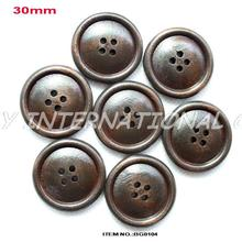 (100pcs/lot) 30MM 4 Holes Brown Wooden Button Bulk Hat Scraf Clothing Sewing Buttons Washable -BG0104
