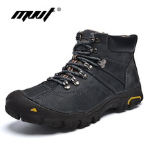 MVVT Waterproof Men Boots Warm Genuine Leather Snow Boots Outdoor Ankle boots Winter Shoes Men work boots