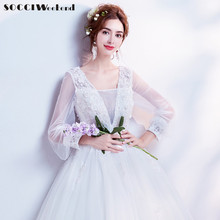 Buy SOCCI Weekend Vintage Long Sleeves Wedding Dresses 2017 Women Marriage 3D Flowers Robe Dress Vestido De Noiva China Bridal Gowns for $93.87 in AliExpress store