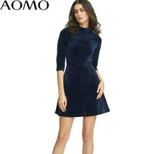 AOMO Fashion Women Velvet Dresses Office Navy Ukraine Vintage Tunic Warm Autumn Winter Alibaba Express Female Vestidos JH1(China)