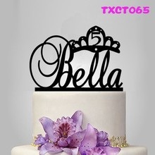 Baby Birthday Gift Personalized Acrylic Cake Topper Wedding Anniversary Party Supplies Custom Wood Cake Stand Top Decorating