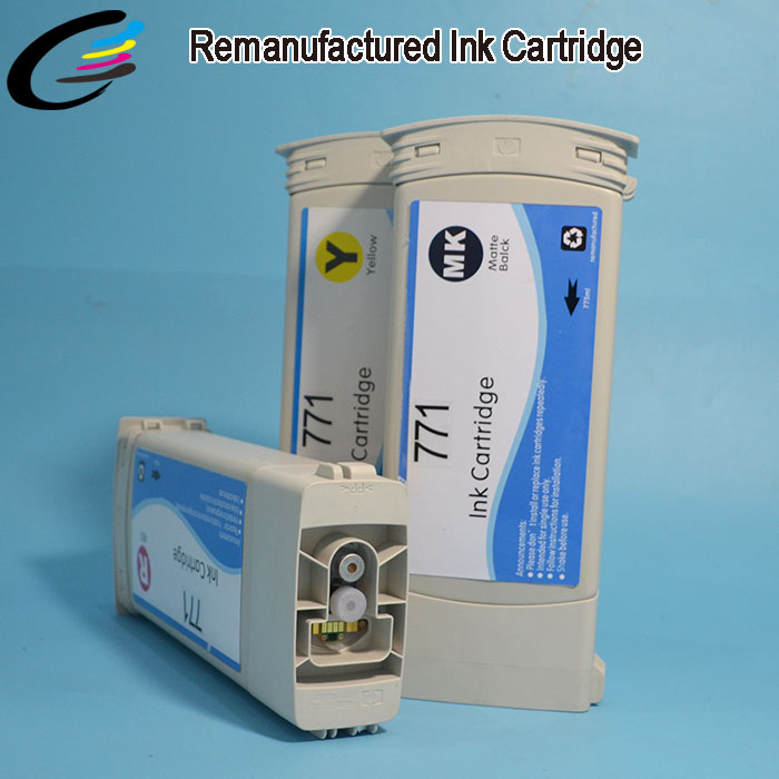 CE037A - CE044A Compatible for HP 771 Remanufactured Ink Cartridge for HP Z6200 Printer Cartridges 775 ML with Chip and Ink<br><br>Aliexpress