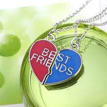 Daren Design Best Friends Letters Necklace Heart Two Parts Pendant Necklace Blue and Red Birthday Gift For Best Friends