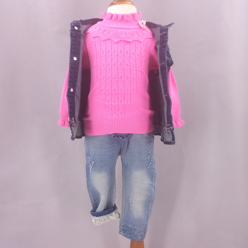 9M-3T 3 Pcs Sets (Jeans vest+sweaters+Jeans Pants) Spring Autumn Outfits Baby Girls Clothes Toddler Kids Clothing High Quality<br>