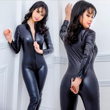 Buy Hot Lady Sexy Front Zipper Elastic Black PU Bodysuit Slim Clubwear Faux Leather Latex Zentai Catsuit Smooth Wetlook Jumpsuit