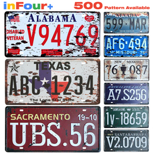 United States Car License Metal Plate Vintage Home Decor Tin Signs Bar Pub Cafe Decor Metal Sign Garage Painting Plaque Sticker