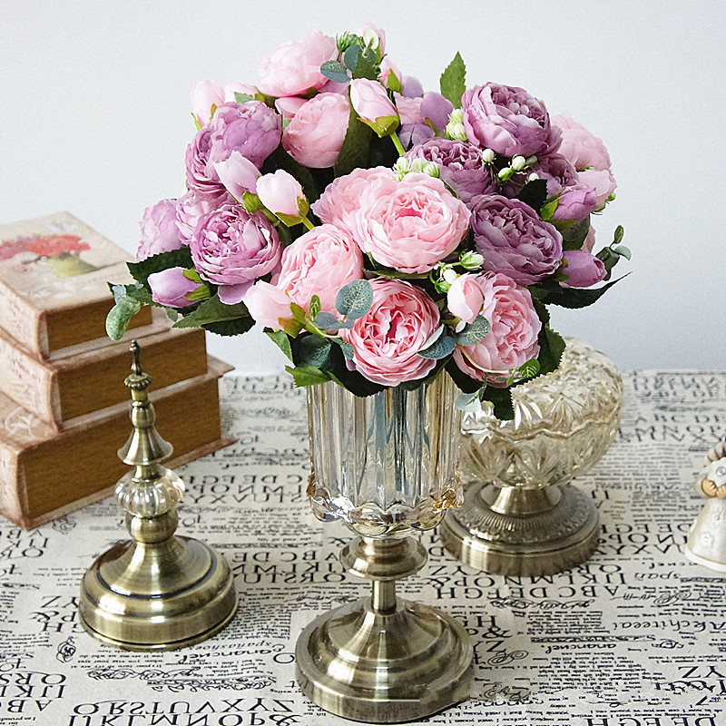 5 Heads Beautiful Rose Peony Artificial Silk Flowers Small Bouquet Home Decor