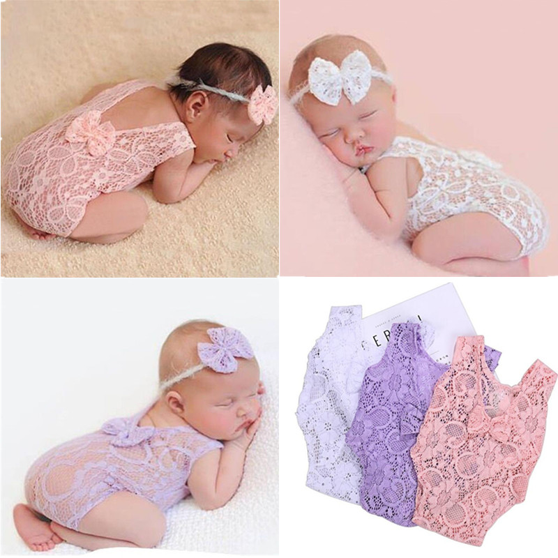 Newborn Photography Props Baby Girl Lace Romper Infant Photo Shoot Clothes Photo Props Baby Newborn Props Infant Photo shoot(China)