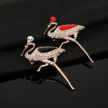 1PC Fashion Chic Rhiestone Animal Brooch Pins Metal Austrian Red Crystal Bird Brooches For Womens Jewelry