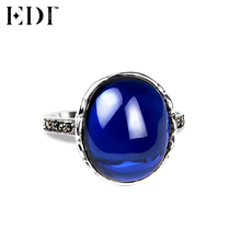 EDI 925 Sterling Silver & Marcasite Jewelry Big Blue Sapphire Wedding Rings for Women Natural Gemstones Antique Thai Silver Ring