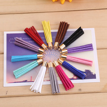 10Pcs/lot 50mm  Suede Leather Jewelry Tassel For Key Chains/ Cellphone Charms Top Plated End Caps Cord Tip