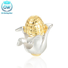 925 Sterling Silver Kids Jewellery Corn Bead Golden Food Bead Charm Fit European Bracelets Brand Gw 2016 Summer Style E026(China)