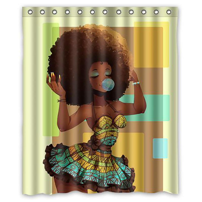 Shower Curtain Upgrade Fabric Explosive Head African Woman Decor with 12PCS Hook