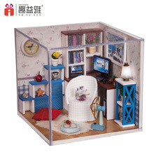 M003 Miniature DIY wooden doll house study room Furniture Toy Miniatura ( furniture,Light,dust cover ) warm time dollhouse