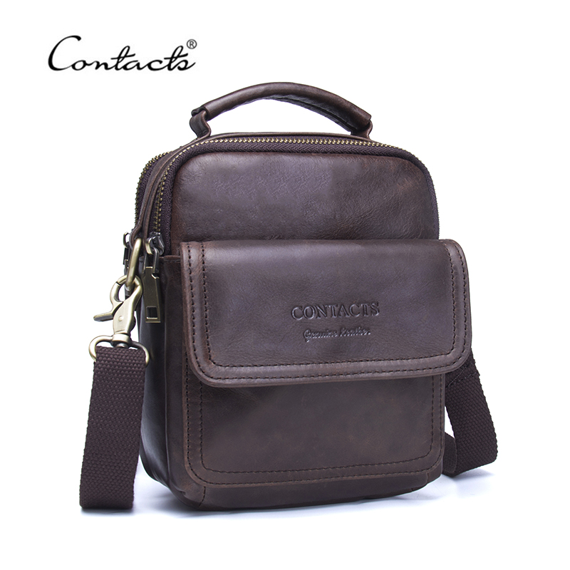 CONTACTS Genuine Leather Men Messenger Bags Promotional Small Crossbody Shoulder Bag New Casual Bag For Man High Quality<br>