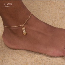 wholesale New fashion trendy foot jewelry Bohemia style cute crystal pineapple anklet gift for women girl AN14(China)