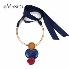 eManco Women Long Big Geometric Necklace Fashion Blue & Red &Orange Stone Necklace Gold-color Tube Exaggerated Cool Accessories(China)