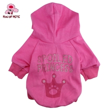 2017 Spring Autumn Lovely Crown 100% Cotton Hooded T-shirt for Pets Dogs with Hoodie Dog Clothes for Pet(China)