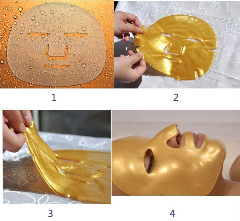 5pcs Bioaqua 24K Gold Mask Crystal Collagen Powder Face Mask No Wash Korean Face Masks Moisturizing Anti-aging Facial Skin Care 12