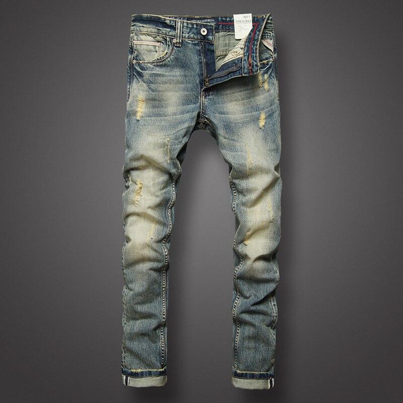 Italian Style Fashion Mens Jeans Retro Design Slim Fit Denim Ripped Jeans Mens Pants Brand Clothing Nostalgia Color Biker JeansÎäåæäà è àêñåññóàðû<br><br>