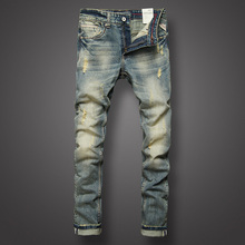 Buy Italian Style Fashion Mens Jeans Retro Design Slim Fit Denim Ripped Jeans Mens Pants Brand Clothing Nostalgia Color Biker Jeans for $36.99 in AliExpress store